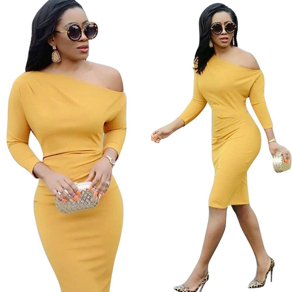2018 Лидер продаж экзотические пикантные дизайнерские Для женщин миди платье с длинным рукавом одно плечо Тощий S-XL платье