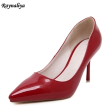 цена на Pointed Toe Thin Heels Women Pumps Patent Leather Ladies High Heel 2018 Spring Fashion Black Red Women's Shoes  MS-A0020