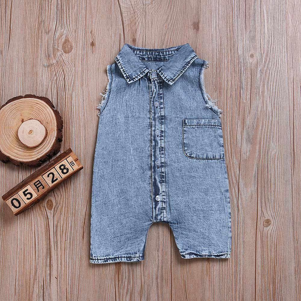 b82b7387328 MUQGEW new infant girl Jeans Newborn Baby Boys Sleeveless Jeans Romper  Jumpsuit Children Clothes