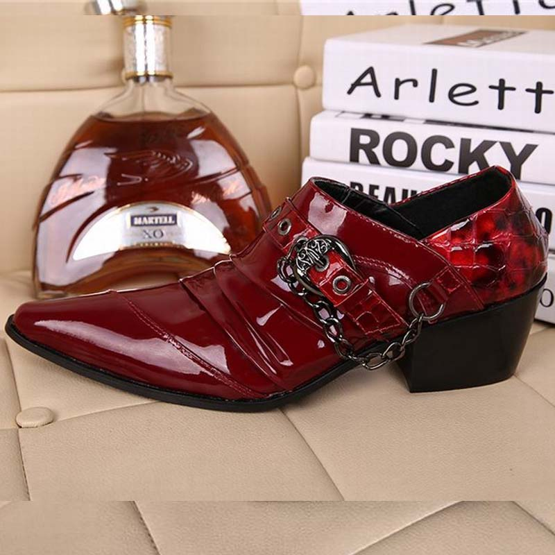 Red Patent Leather Man Dress Shoes Fashion Slip On Oxfords For Men Genuine Leather Punk Buckle Chain Formal Party Wedding Shoes red patent leather man dress shoes fashion slip on oxfords for men genuine leather punk buckle chain formal party wedding shoes