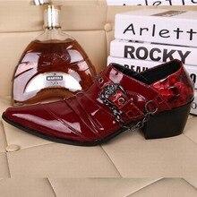 Красный Лакированной Кожи Человека Туфли Мода Slip On Оксфорды для Мужчин Натуральная Кожа Панк Пряжкой Цепи Формальные Свадьбу обувь