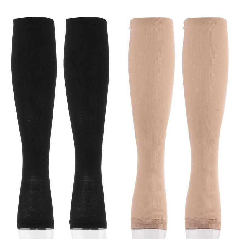 1 Pair Antifatigue Compression Miracle Socks Soothe Tired With Zipper Stockings Unisex Knee Socks Supports Toe Thigh Stocking