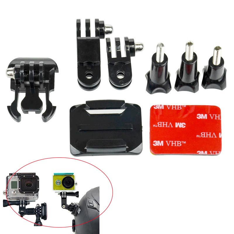 Tekcam for Go Pro hero 5 helmet motorbike curved adhesive side mount For Gopro Hero3 3+ 4 5 6 sj4000/5000 Eken H9R Action Camera 3in1 helmet arm kit curved mount 3m pad for gopro hero 3 3 2 1 sj4000