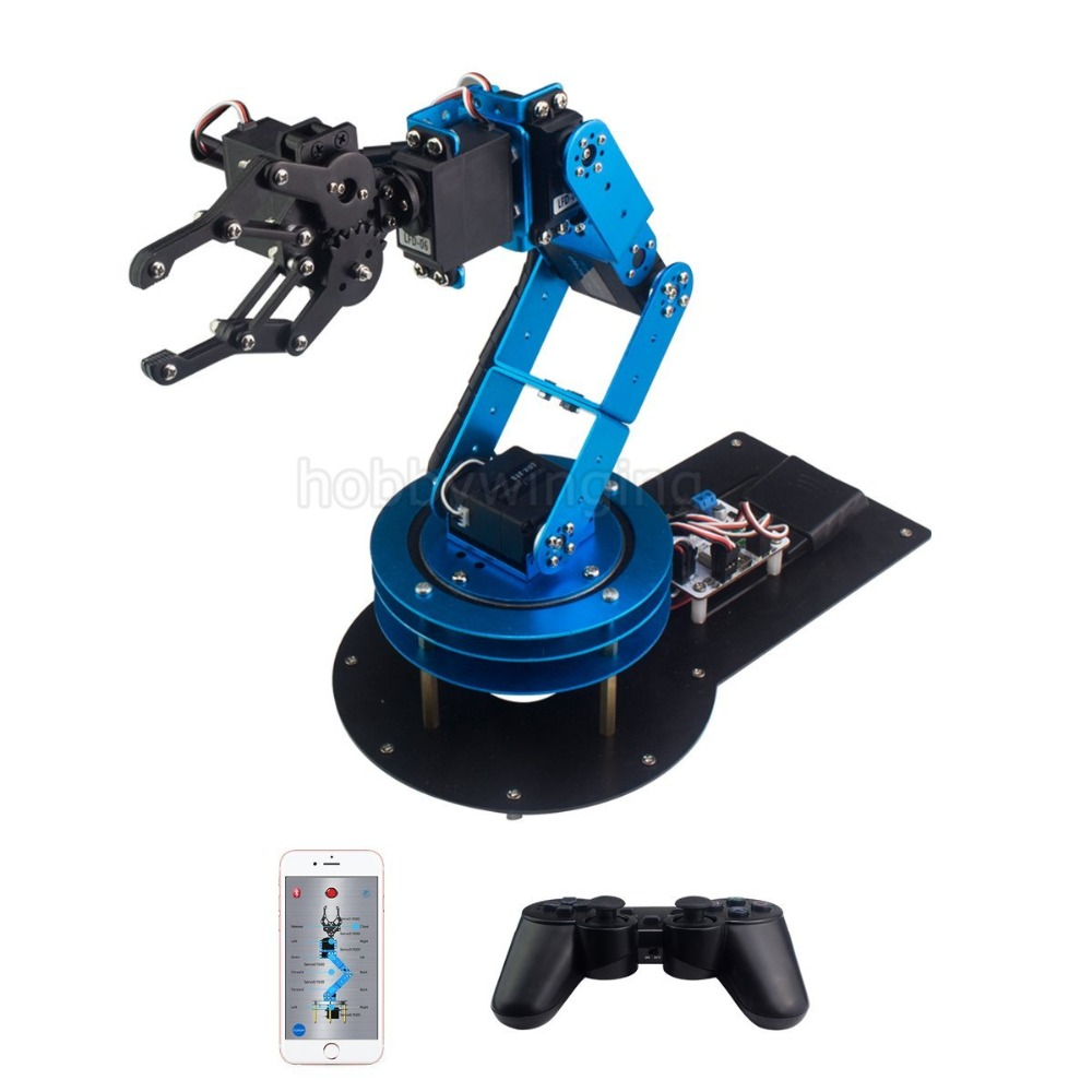 6DOF Full Metal Manipulator Robotic Arm Claw with servos/controller/Wireless Handle Education Robot Provide English tutorials intelligent force and position control of 6 dof robot manipulator