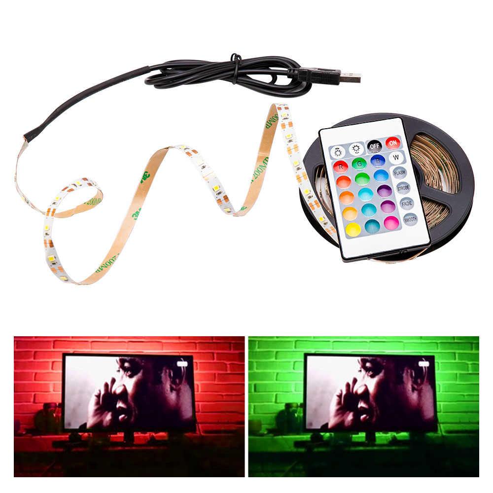 5V USB RGB LED bande lampe 2835SMD Flexible lumière LED ruban ruban 1M 2M 3M 4M 5M HDTV TV écran de bureau fond biais éclairage