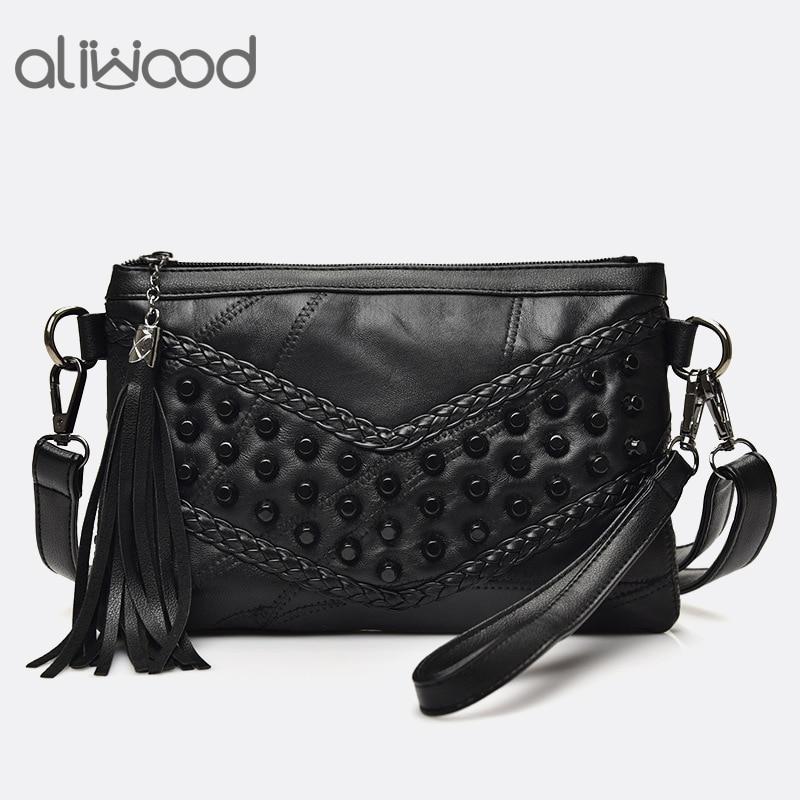 Women's Bags Messenger-Bag Crossbody-Bag Clutches Fringed Tassel Females Girls Genuine-Leather