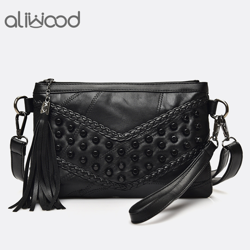 Fashion Tassel Women's Bags Luxury Fringed Handbags Genuine Leather Women Messenger Bag For Girls Crossbody Bag Females Clutches