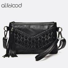 Модные ботильоны с кисточками Для женщин Роскошные сумки с бахромой Сумки из натуральной кожи Для женщин сумка для девочек плечевым ремнем женские клатчи