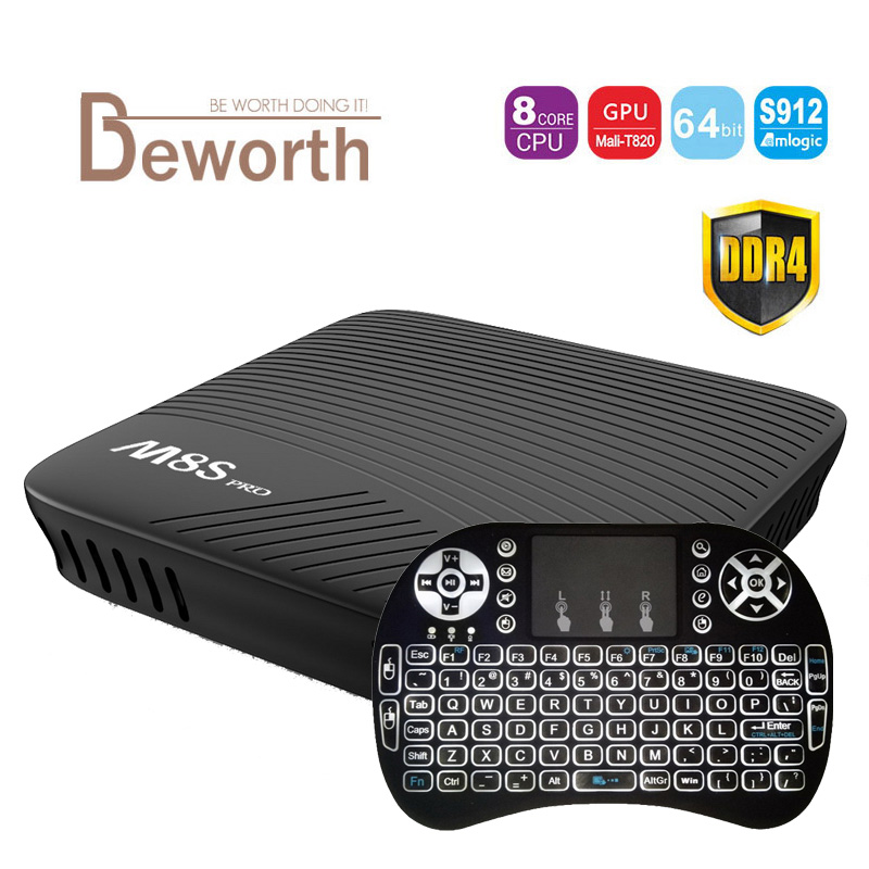 Android 7.1 TV Box 2GB DDR4 16GB Amlogic S912 Octa Core UHD 4K BT 4.1 2.4G/5G Dual WiFi M8S PRO Smart Set-top Box Media Player genuine beelink gt1 ultimate tv box android 7 1 amlogic s912 octa core ddr4 smart tv box bt 4 0 5g wifi android tv tv box