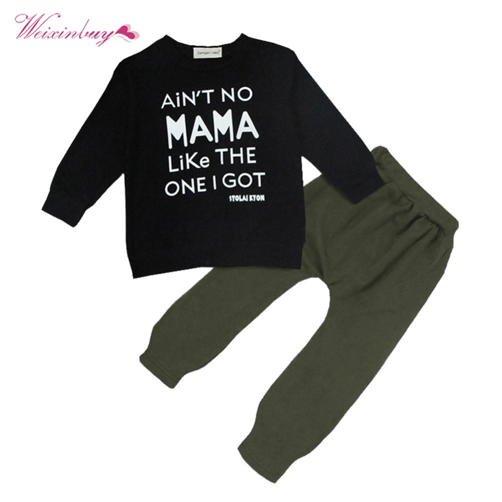 WEIXINBUY Baby Clothes Set Autumn Baby Kids Toddler Boy Letter Printed Long Sleeve Tops  ...