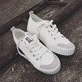 Clásico de la moda de Zapatos Blancos de Las Mujeres 2016 de Plataforma Transpirable Zapatos de Lona de Las Mujeres Ocasionales Atan para arriba Zapatos Mujer N742