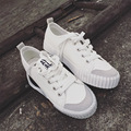 Fashion Classic Women's White Shoes 2016 Breathable Platform Canvas Shoes Women Casual Lace up Zapatos Mujer N742