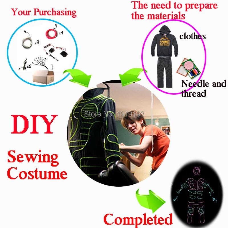 Fesyen Baru DIY Wire EL Suit LED / EL Pakaian bersinar Kostum yang - Pencahayaan perayaan - Foto 3
