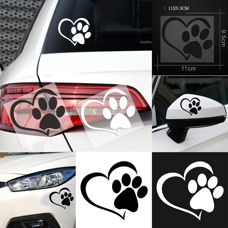 Cute Dog Paw With Peach Heart Car Sticker Cool Design Paw 3D Animal Dog Foot Prints Footprint Decal Car Stickers
