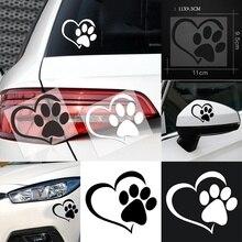 Милая собачья лапа с персиковым сердцем крутая наклейка на автомобиль Дизайн лапа 3D животное собака ноги печатает наклейки в виде отпечатка ноги автомобиля стикер s