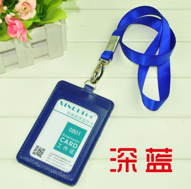 1pcs Royal Blue Color Vertical PU Leather ID Holders Business Card Badge Holder With 1.5cm Neck Lanyard