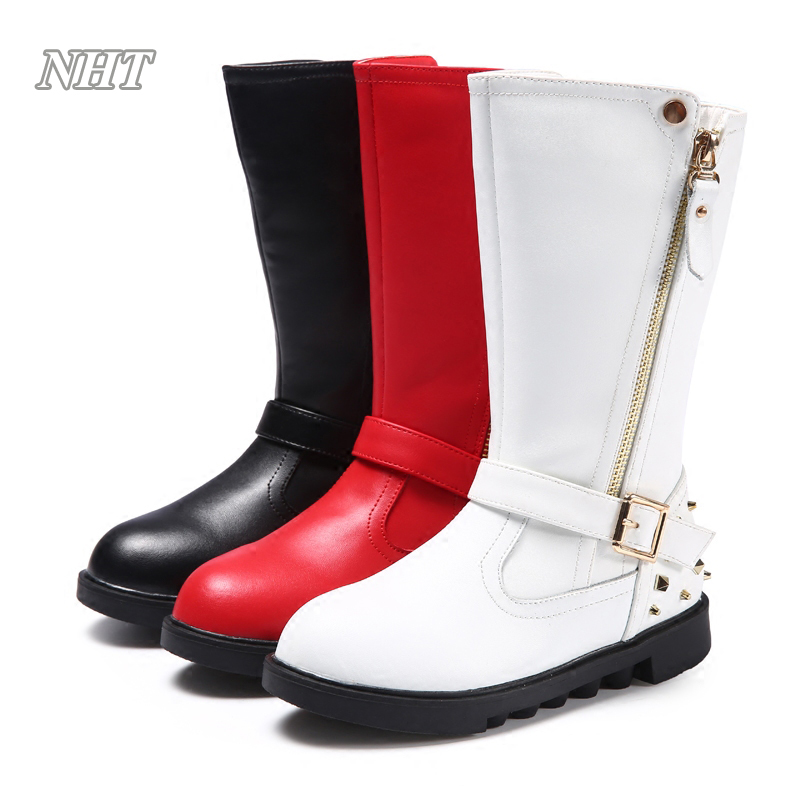 Nauhutu children boots classic stylish girls mid-calf boot kids shoes autumn ankle buckle strap long zipper closure in red black double buckle cross straps mid calf boots