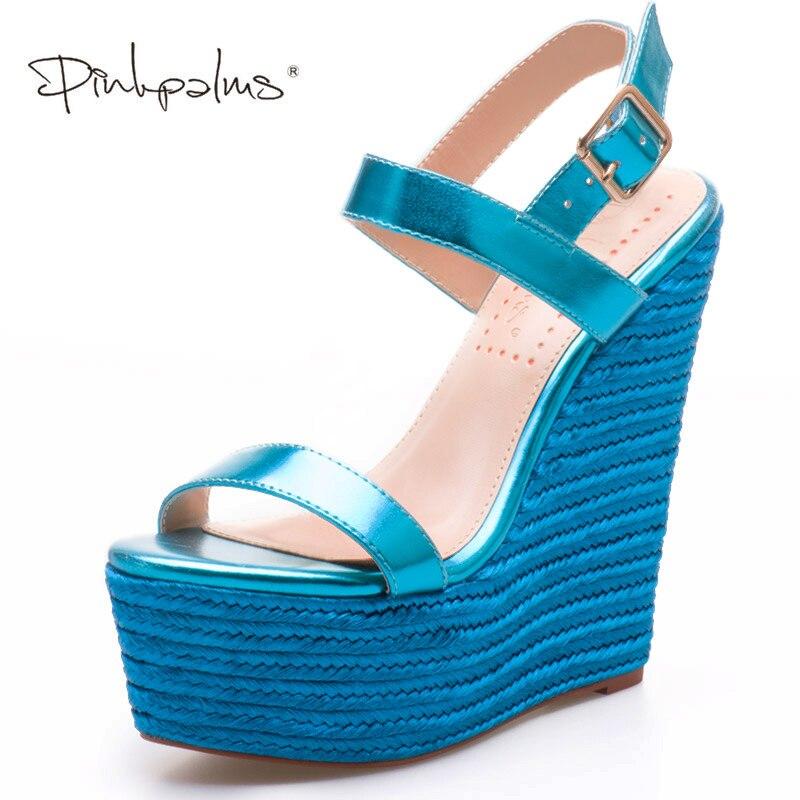 Ayakk.'ten Yüksek Topuklular'de Pembe Avuç Içi Kadın Ayakkabı sandalias mujer 2018 platform sandaletler Yüksek Topuklu Ayakkabılar Bayan Sandalet Parti Elbise Sandalet Parlak mavi'da  Grup 1