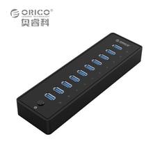 ORICO P10-U3 10 Порты USB 3.0 хаб с VL812 12V3A ЕС/UK Адаптеры питания-черный