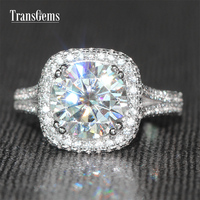 TransGems 3 Carat F Colorless Moissanite Wedding Ring Real Diamond Accents 14K White Gold Engagemennt Anniversary