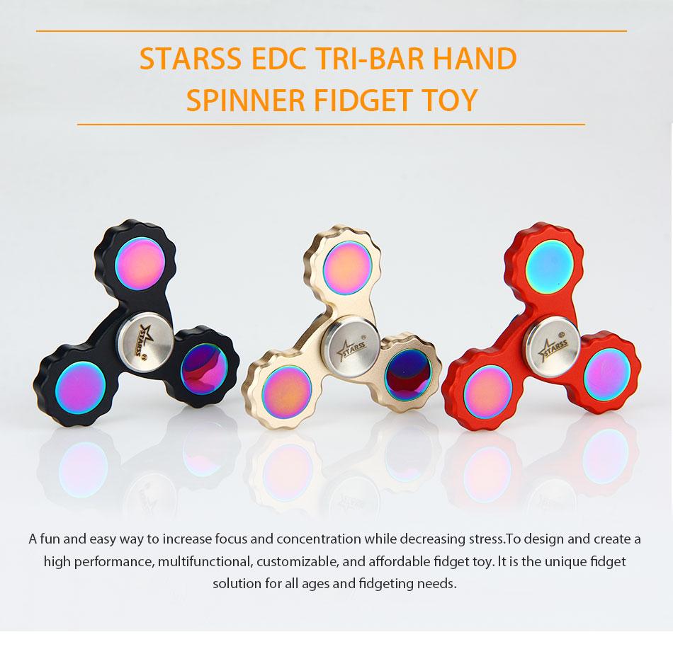 Do Dower EDC Fidget Spinner Tri-Bar Hand Spinner Toys Brass Tri Finger Spinners Focus Toy Keep Spinning over 3 Minutes Spinner