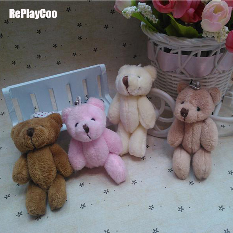 25pcs/lot Kawaii Small Joint Teddy Bears Stuffed Plush With Chain 8CM Toy Teddy-Bear Mini Bear Ted Bears Plush Toys Gifts 083