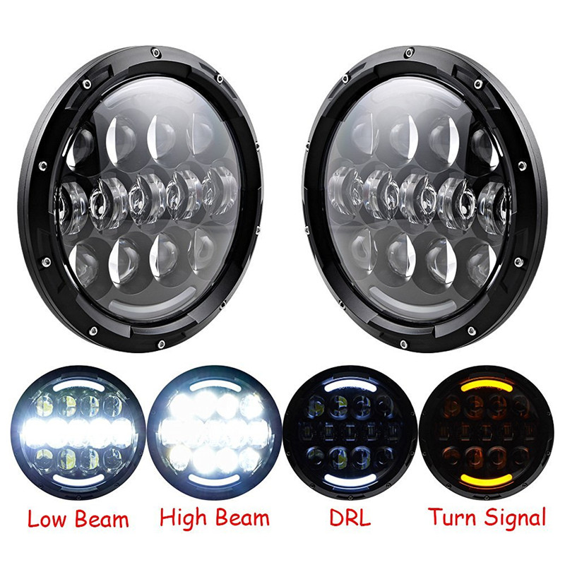 LED H4 Motorcycle Headlight For Jeep Wrangler JK  Headlight Dual Beam  Round 105W LED Projector 7 INCH led headlamp switch for jeep wrangler rocker switches for jeep wrangler jk
