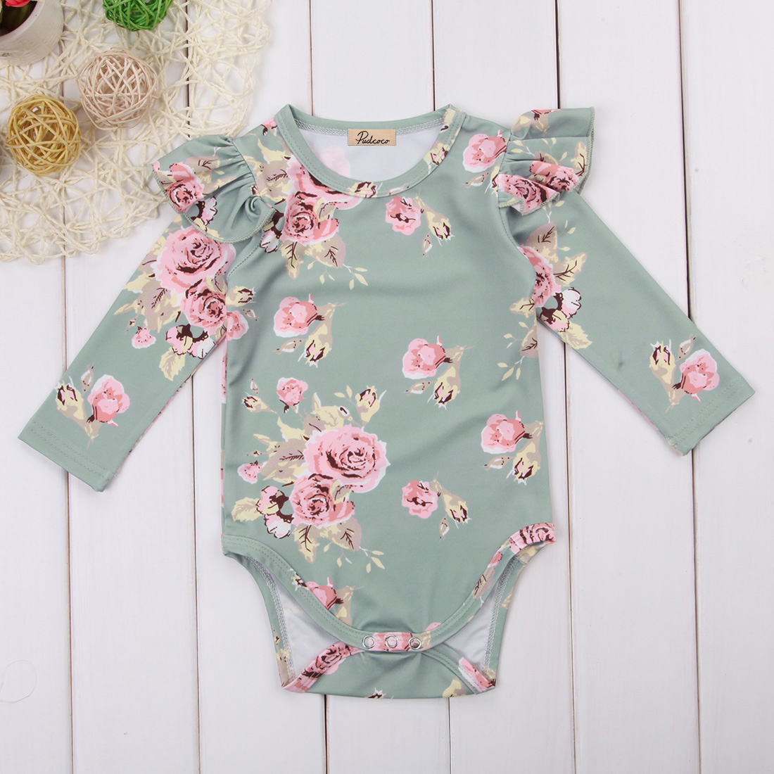 fdebfd5dc240 Newborn Baby Girl Clothing Floral Romper Kids Long Sleeve Cute ...