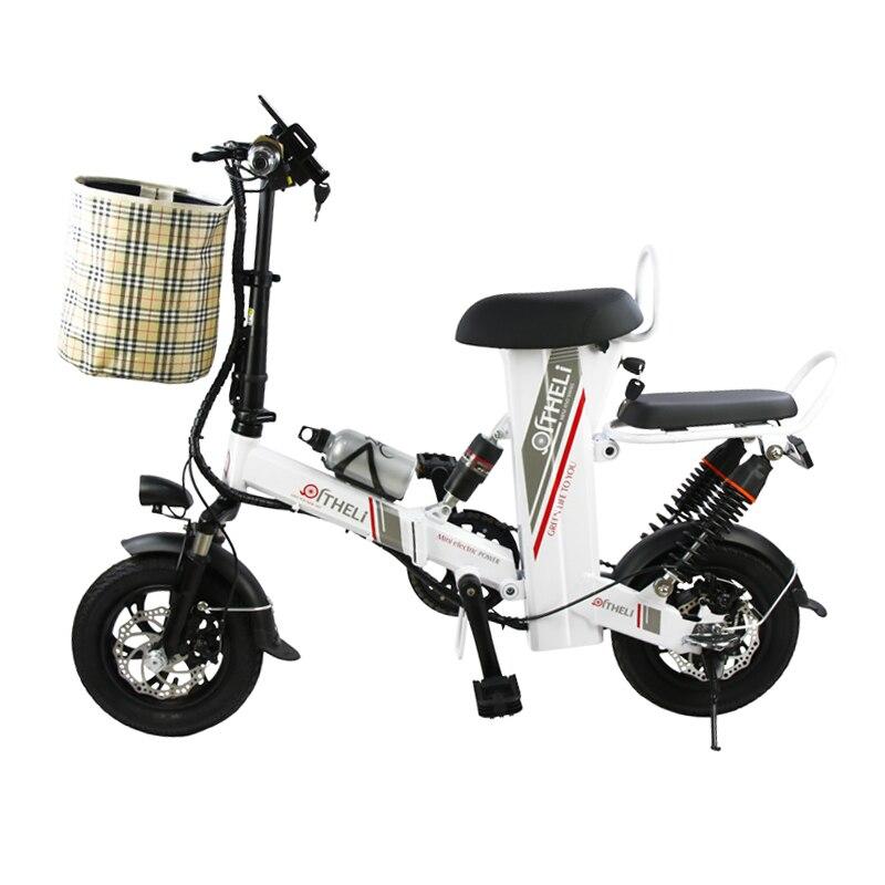 12-polegada mini bicicleta elétrica assento duplo unidade de geração elétrica dobrável bicicleta adulto bicicleta elétrica da bateria de lítio ebike