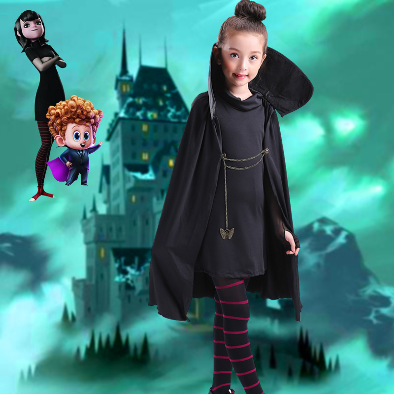 Cartoon Hotel Transylvania Mavis Cosplay Costume Fancy Girls Black Cape Coat With T shirt pants Halloween Carnival Costume in Girls Costumes from Novelty Special Use
