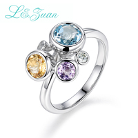 L Zuan 3 Gemstones Natural 0 82ct Topaz Blue Stone Prong Setting Sterling Silver Jewelry Ring