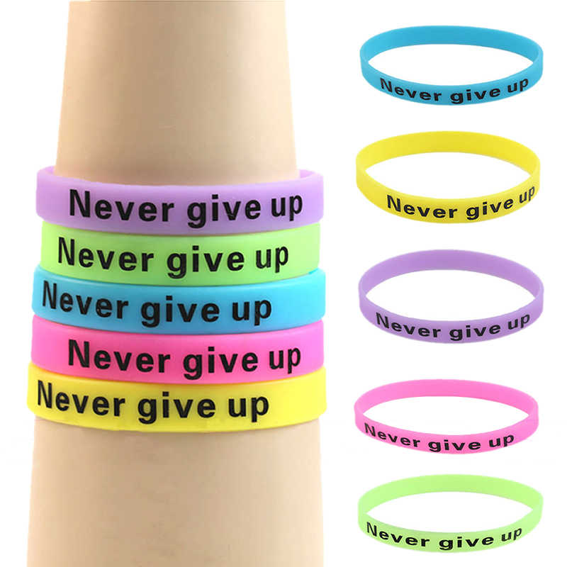 Glow In Dark Silicone Rubber Elasticity Sport Wristband Never Give Up Print Unisex Cuff Bracelet Candy Color