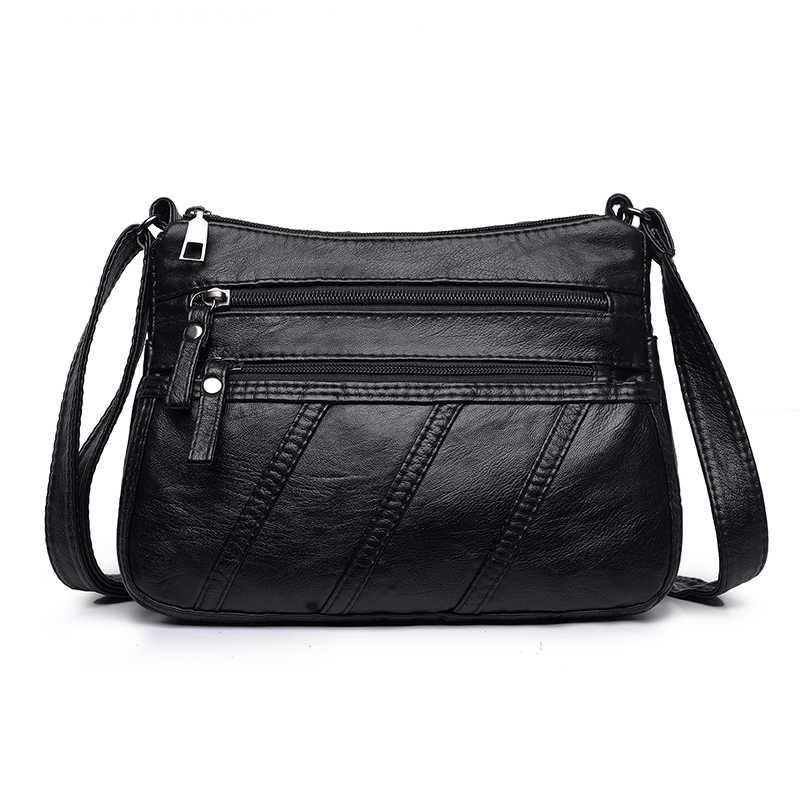 b067fed29 ... Annmouler Fashion Women Crossbody Bag Black Soft Washed Leather  Shoulder Bag Patchwork Messenger Bag Small Flap ...