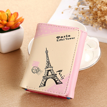 Womens wallet Korean version of the short section ladies pu printing card package кошелек женский
