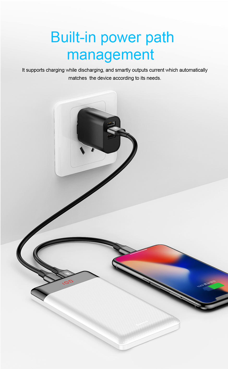 Baseus 10000mAh Power Bank For Xiaomi Samsung iPhone Huawei Powerbank Portable Mini Dual USB Charging External Battery Pack Bank 10