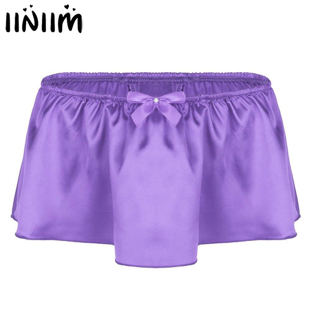 Iiniim Lingerie Sexy Gay culotte pour hommes brillant Satin Sissy jupe avec Bowknot tongs String Homme sous-vêtements caleçons