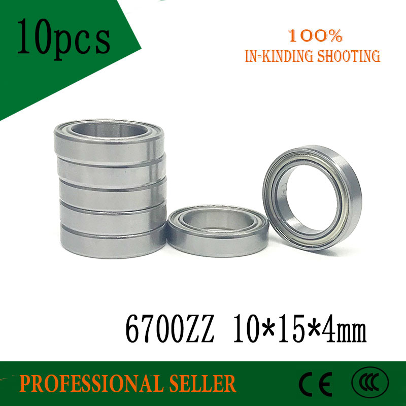10pcs 6700ZZ Bearing 10x15x4 MM ABEC-1 Thin Section Deep Groove 6700 ZZ Ball Bearings 61700 ZZ 6700Z Z s6009zz bearing 45 75 16 mm 2pcs abec 1 s6009 z zz s 6009 440c stainless steel s6009z ball bearings