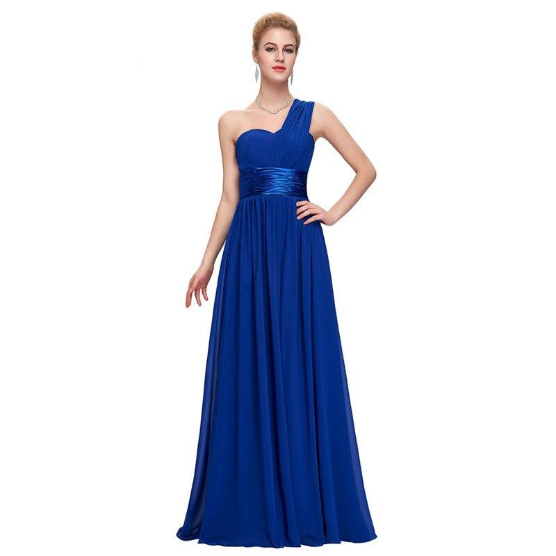 13757bc47f476c Kopen Goedkoop NICEOOXIAO 2018 Lange Bruidsmeisje Jurk Een Schouder Chiffon  Voor Vrouwen Jurk Elegante Mode Paars Blauw Jurk Robe De Soiree 68 Prijs.
