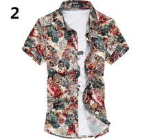 High Quality Plus Size Summer Luxury Cotton Floral Print Man Casual Shirts  Short Sleeve Male( 667b17f9d35a