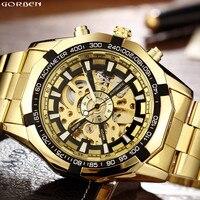 Hot Sale Luxury Golden Luminous Automatic Mechanical Skeleton Dial Stainless Steel Band Wrist Watch Men Women