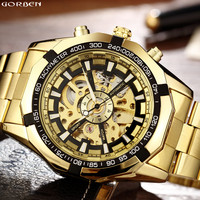 Hot Sale Luxury Golden Luminous Automatic Mechanical Skeleton Dial Stainless Steel Band Wrist Watch Men Women