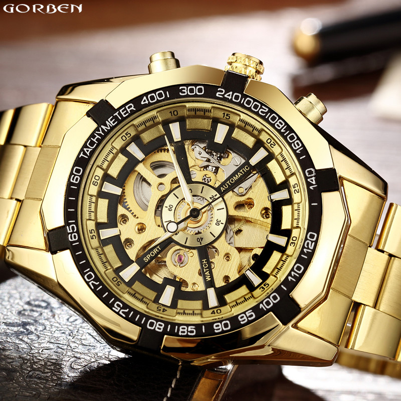 Hot Sale Luxury Golden Luminous Automatic font b Mechanical b font Skeleton Dial Stainless Steel Band