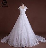 사용자 정의 만든 Vestido 드 Casamento 아이보리/화이트 아플리케 구슬 주름 라인 분리 기차 레이스 웨딩 드레스 로브 드 Mariage