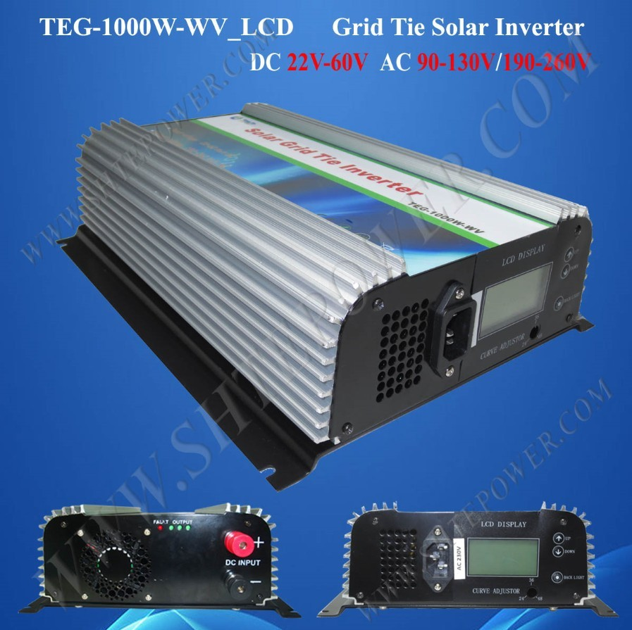 1000w grid tie solar inverter dc 24v 36v 48v to ac 110v /220v grid tie inverter 1kw solar panel free shipping 600w wind grid tie inverter with lcd data for 12v 24v ac wind turbine 90 260vac no need controller and battery