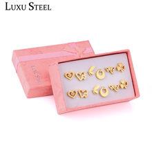 LUXUSTEEL 6pairs/Box Earring Sets Stainless Steel Gold/Silver Color Stud Earrings Female Bijoux Pendientes Crystal Jewelry