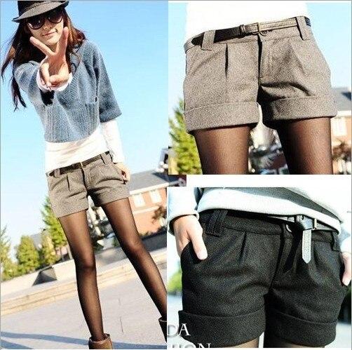 2015 automne et d'hiver femmes tournez - up droites bootcut laine courtes pantalon ainsi que de grandes grande taille shorts occasionnels noir gris