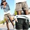 2015 outono e inverno das mulheres turn up calças retas bootcut lã além de grande tamanho grande shorts preto cinza