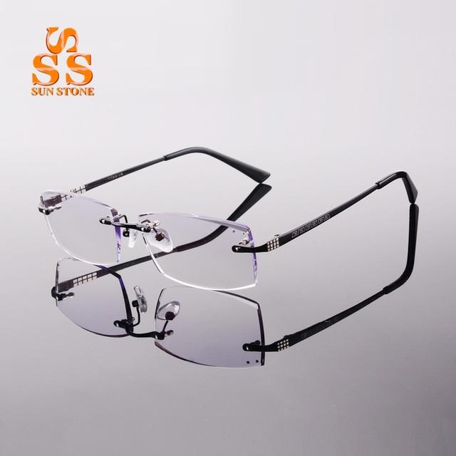 Hombres de Calidad Superior de la Aleación Titanium Sin Rebordes Eyewear Óptico Con Dioptrías Diamond Cutting Businiss Óptica Gafas Graduadas F139