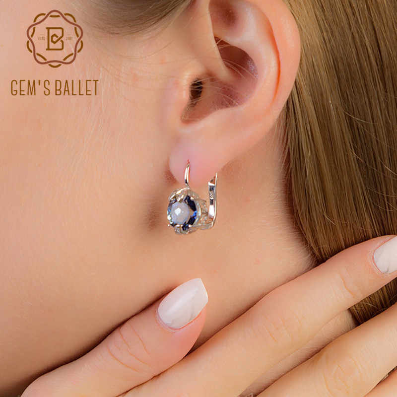 GEM'S BALLET 5.47Ct Natural Iolite Blue Mystic Quartz Clip Earrings Pure 925 Sterling Silver Gemstones For Women Fine Jewelry