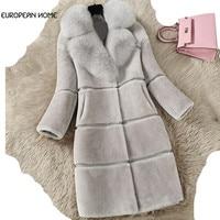 Winter Plus Size 4XL Women Fur Coat Thicken Warm Jackets Casual Faux Lamb Fur Long Coats Female Fox Fur Collar Parka LQ448